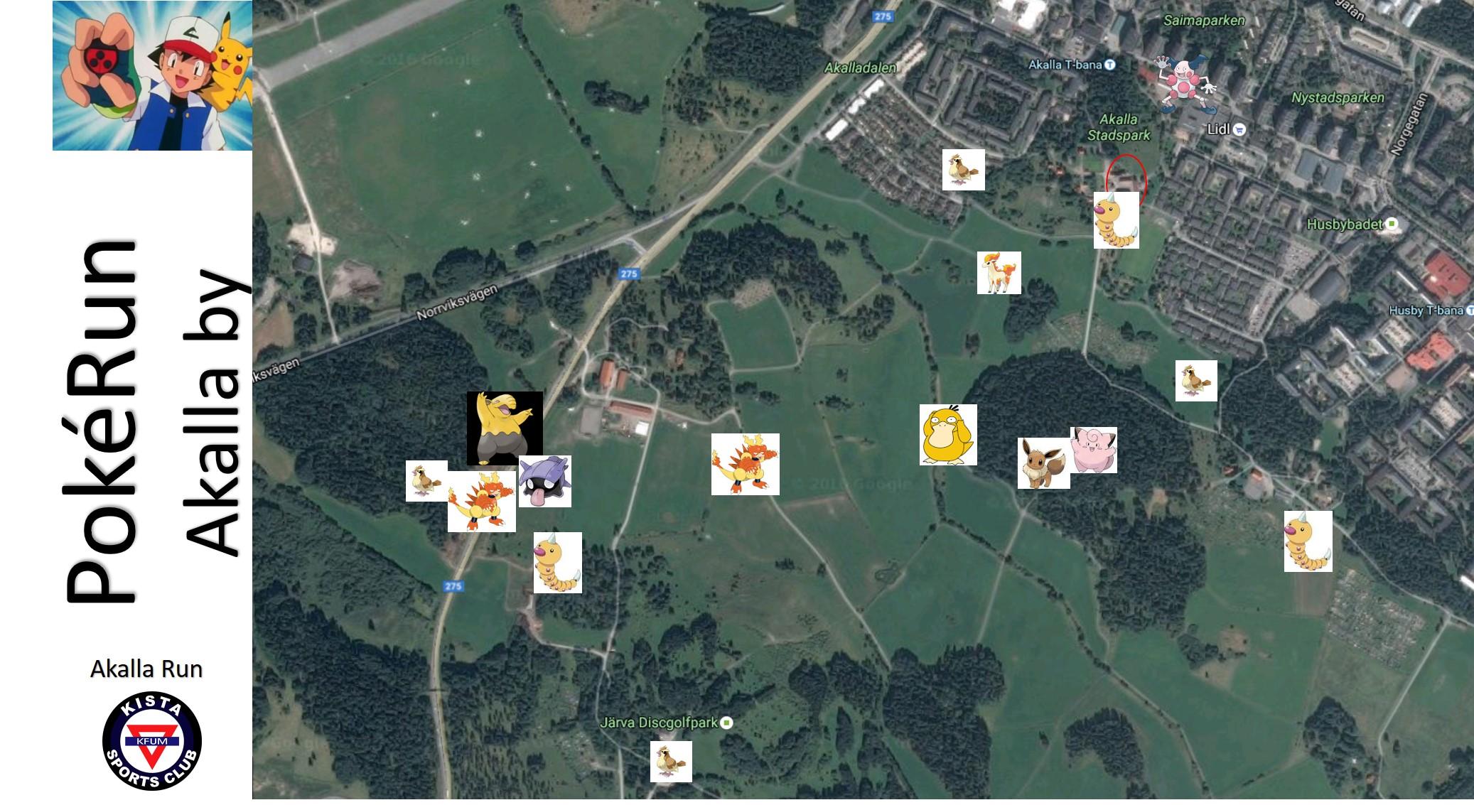 PokeRun-karta Akalla